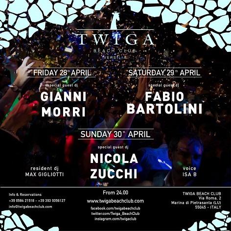 discoteca twiga beach club 28 29 30 aprile